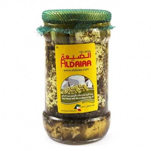 الضيعة - جبنة فيتا بالخلطات بالزيتون وزيت النباتي 600 جم