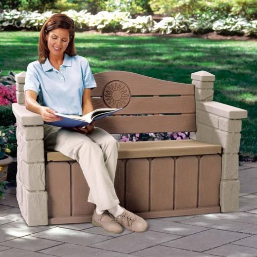 ستيب 2 – مقعد وخزانة لحديقة وفناء المنزل – بيج - يتم التوصيل بواسطة Shahaleel