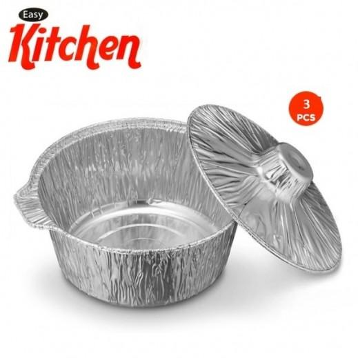 إيزي كيتشن - أوعية ألمونيوم لحفظ الطعام مع غطاء - حجم كبير 3 حبة