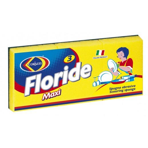 كوراتزي - إسفنجة تنظيف الأواني فلورايد ماكسي - 3 حبة