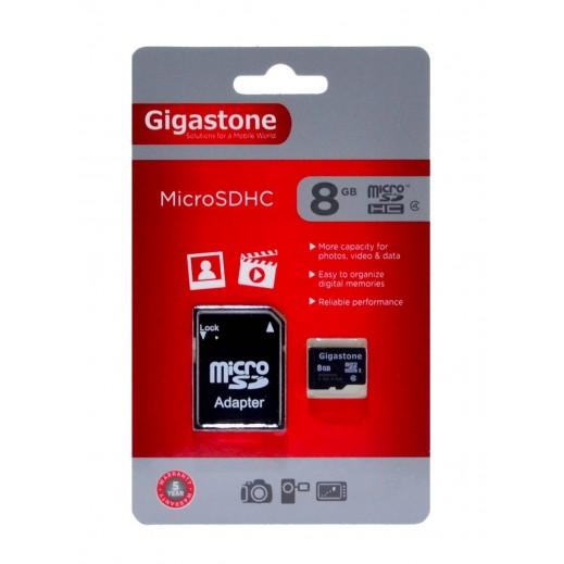 جيجاستون – بطاقة ذاكرة 8 جيجابايت MicroSD فئة 4 مع محول