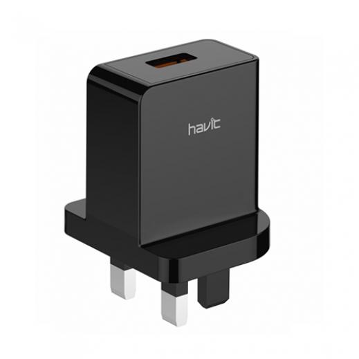 هافت - شاحن حائط USB سريع - أسود