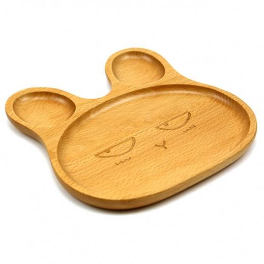 طبق طعام خشبي للأطفال