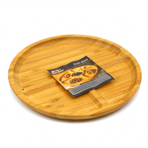 طبق خشبي لتقديم الفواكه مُقسم لأجزاء