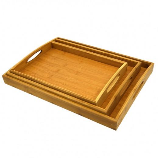 طقم صواني خشبي أحجام مختلفة - 3 حبة