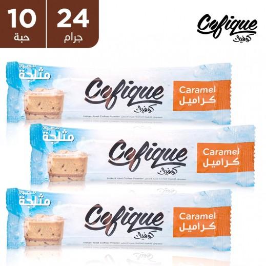 كوفيك مسحوق القهوة المثلجة بالكراميل سريعة التحضير 24 جم (10 أكياس)
