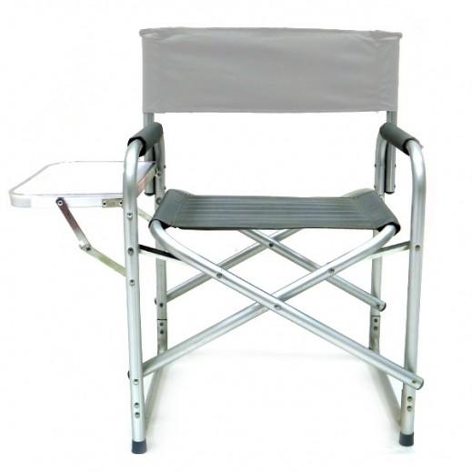كرسي رحلات البر قابل للطي مع سنادة طاولة - رمادي