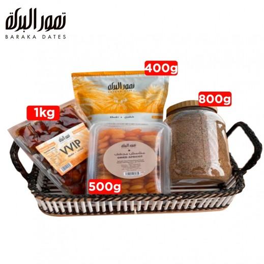 تمور البركة خلاص  + مشمش مجفف + تمر خضري + قهوة عربية قرطبة  - يتم التوصيل بواسطة شركة البركة العالمية للمواد الغذائية - توصيل خلال 3 أيام عمل
