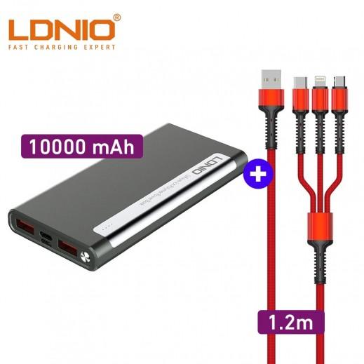 لدنيو - كيبل شحن سريع 3 في 1 بطول 1.2 متر 3.4 امبير - احمر +  بطارية إحتياطية سعة 10000 مل أمبير ثنائي USB – أسود