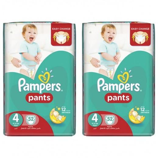 بامبرز - حفاضات بانتس بنطال للأطفال مرحلة 4 (9 - 14 كجم) عبوة جامبو 2×52 حفاضة (20% خصم)
