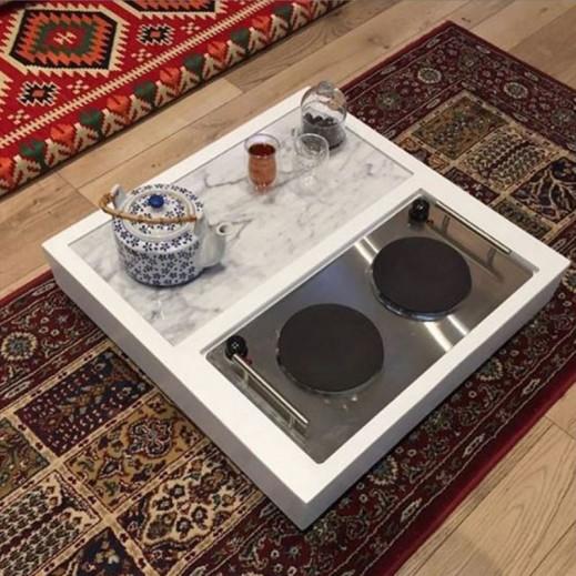 طاولة بسطح رخام مع دوة 3 × 1 حجم كبير - أبيض  - يتم التوصيل بواسطة Siwaj