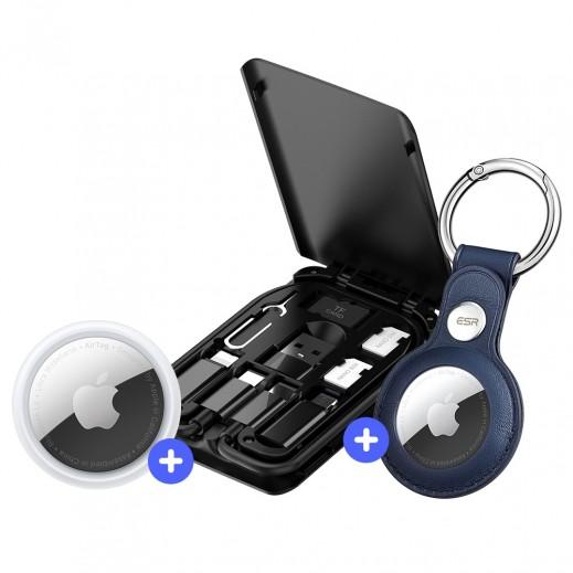آبل - آير تاج + بودى - مجموعة 6 في 1 من كابلات الشحن مع اكسسوارات خط الهاتف + اي اس ار – حافظة و حلقة مفاتيح Metrotag لجهاز التتبع ابل  Air Tag - أزرق