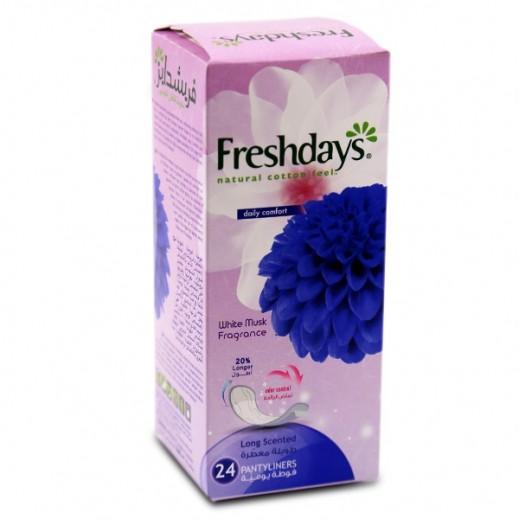 فريشدايز - فوط الراحة اليومية الطويلة بنعومة القطن الطبعيي وعطر المسك 24 فوطة