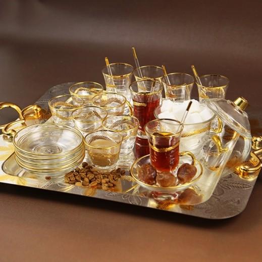 إي إس سي - طقم أكواب إستكانة وقهوة مع طبق مزخرف بلون ذهبي - 25 حبة