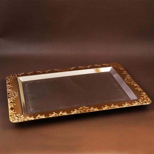 إي إس سي  - صينية تقديم حجم وسط - ذهبي وفضي