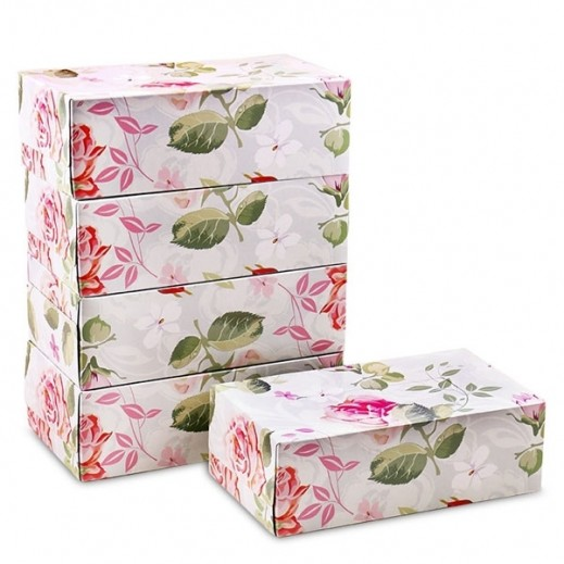 توصيل - مناديل للوجة 200 منديل بتصميم الورود - 5 حبة