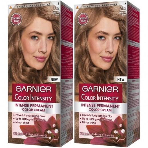 غارنييه - صبغة Color Intensity الدائمة للشعر رقم 7.12 لون اشقر رمادي فاتح  (1+1 مجانا)