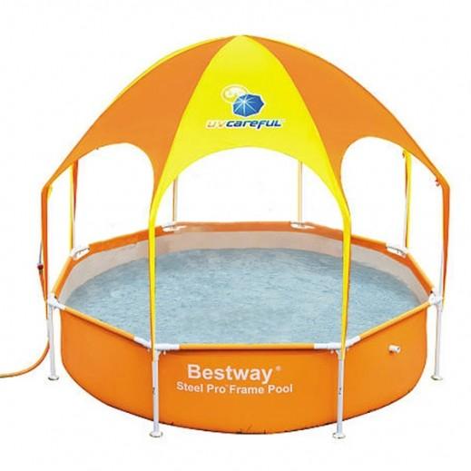 بست واي – حمام سباحة للعب بمظلة برتقالي 244 × 51 سم    - يتم التوصيل بواسطة Al-Nasser Sports