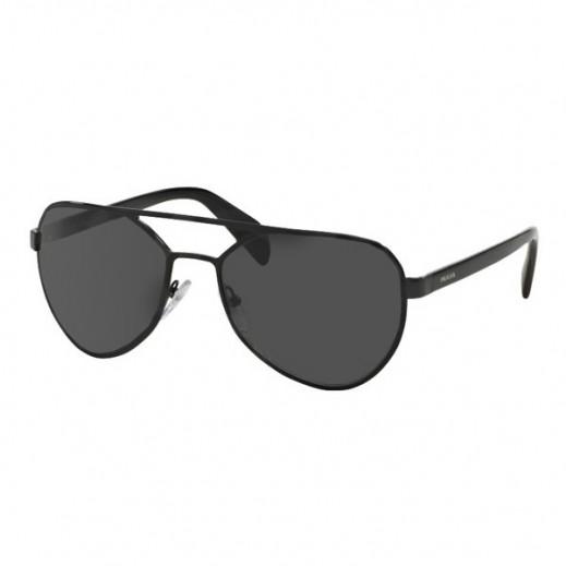 برادا – نظارة شمسية افياتور للرجال موديل 55RS 7AX 1A158 أسود/ رمادي - يتم التوصيل بواسطة HO Sunglasses