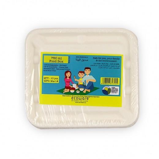 إيكووير - عبوة للطعام بغطاء قابلة للتحلل 750 مل - 10 حبة