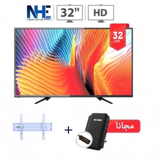 إن إتش إي – تلفزيون 32 بوصة HD LED – أسود + ريسيفر استقبال قنوات N3 + حامل حائط - يتم التوصيل بواسطة Nasser Alhusainan