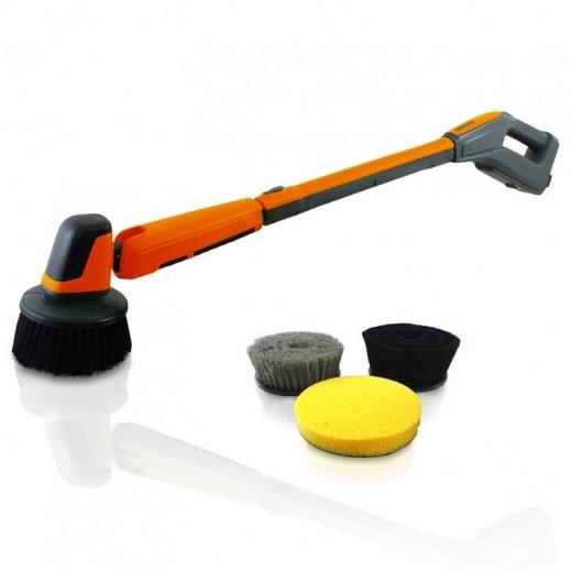إن إتش إي - جهاز تنظيف وتلميع يدوي كهربائي قابل للشحن للسيارات مع 4 رؤوس للتنظيف والتلميع – برتقالي