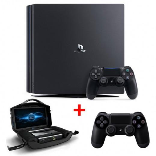بلاي ستيشن 4 برو 1 تيرابايت PAL + شاشة العاب شخصية 19 بوصة لل XBOX/PS3/PS4 + يدة تحكم