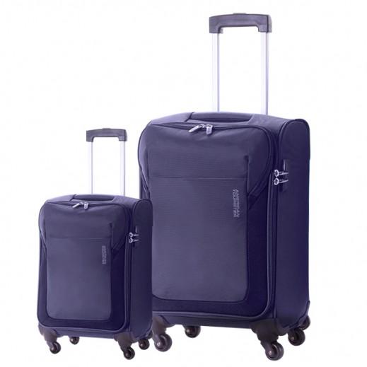 "أميريكان توريستر –  طقم حقائب سفر "" Frisco "" بعجلات 2 حبة (55 + 78 سم) – أزرق غامق"