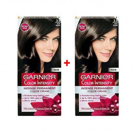 غارنييه - صبغة Color Intensity الدائمة للشعر رقم 3.0 لون بني قاتم (1+1 مجانا) عرض خاص