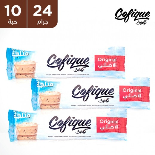 كوفيك مسحوق القهوة المثلجة بالنكهة الأصلية سريعة التحضير 24 جم (10 أكياس)