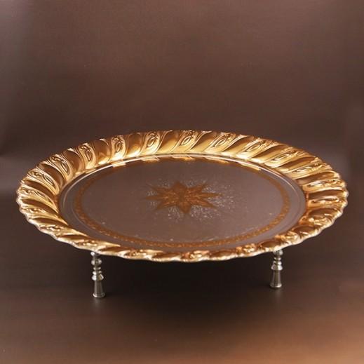 إي سي إس - صينية تقديم دائرية حجم كبير - ذهبي وفضي