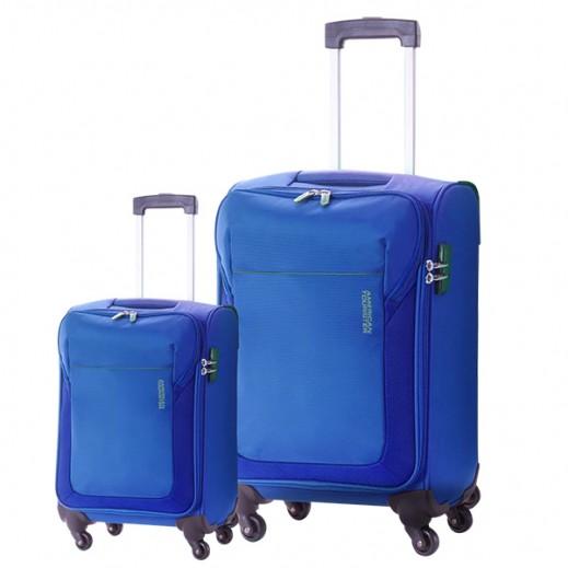 "أميريكان توريستر –  طقم حقائب سفر "" Frisco "" بعجلات 2 حبة (55 + 78 سم) – أزرق ملكي"
