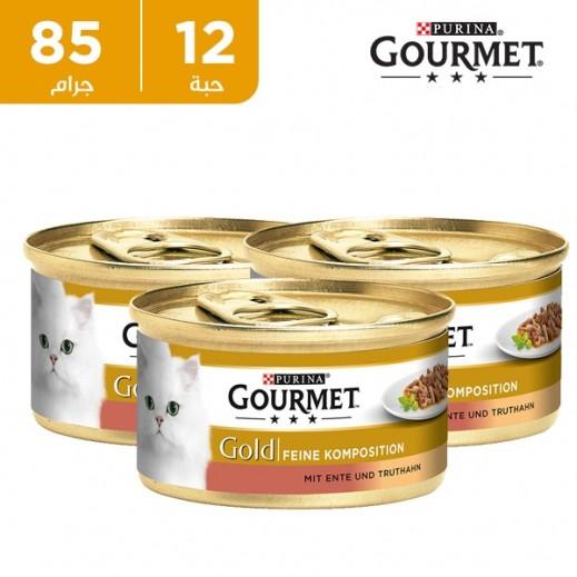 بورينا - طعام القطط (جورميه جولد) مع البط والديك الرومي في صلصة 12 × 85 جم