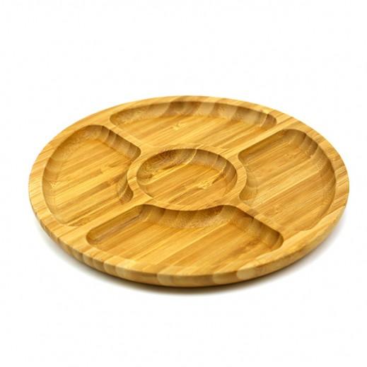 طبق خشبي دائري لتقديم الفواكه مُقسم لأجزاء