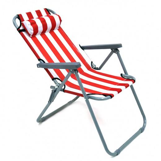 كرسي إتكاء قابل للطي - أبيض/أحمر