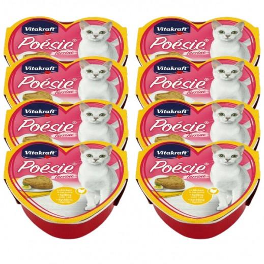 فيتا كرافت – طعام قطط Poesi من الدجاج المخلوط بالبيض في جيلي 8 × 85 جم