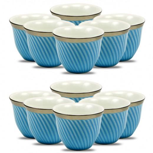 طقم فناجين قهوة من البورسلان 12 قطعة - أزرق