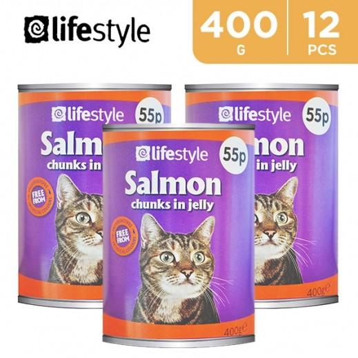 لايف ستايل – طعام القطط البالغة بالسلمون 55 بروتين 12 × 400 جم