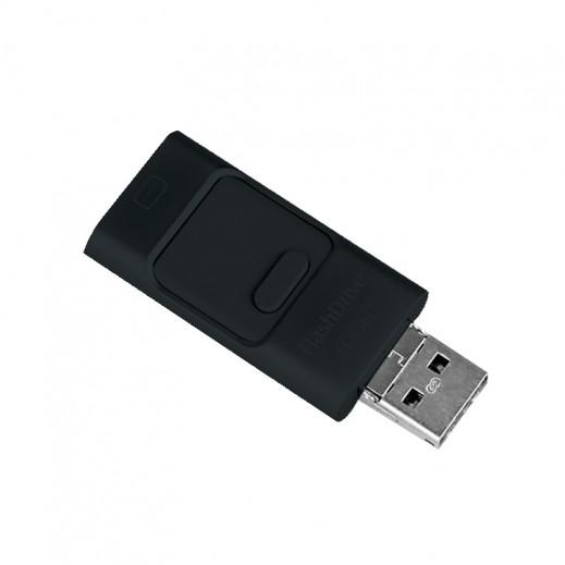 ذاكرة تخزين FLASH DRIVE سعة 32 جيجابايت لآجهزة آبل وجميع اجهزة آندرويد OTG - اسود