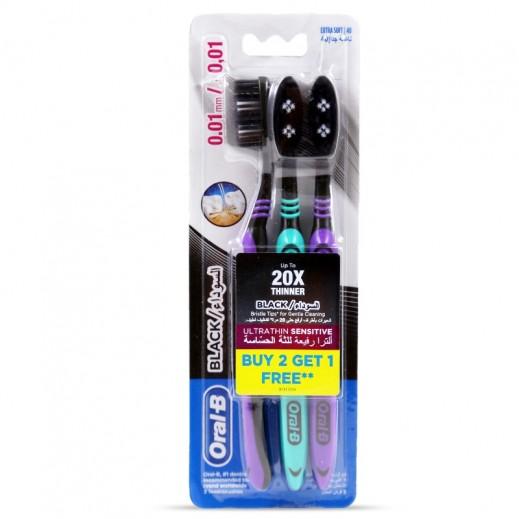 أورال- بي – فرشاة الأسنان الحساسة ألترا سينسيتيف اكسترا سوفت (2+1 مجاناً) أسود