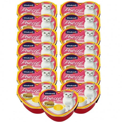 فيتا كرافت – طعام قطط Poesi من الدجاج المخلوط بالبيض في جيلي 15 × 85 جم - أسعار الجملة