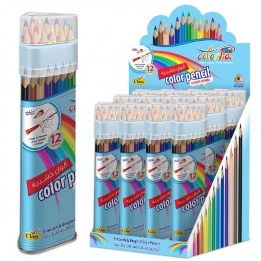 كلاس – طقم أقلام تلوين شيني جامبو في علبة دائرية - 24 قلم