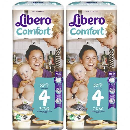ليبرو – حفاضات أطفال كومفرت فيت المرحلة 4 (7 - 11 كجم) 2 × 52 حبة
