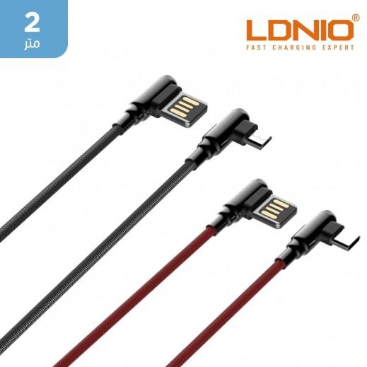 لدنيو - كيبل شحن و مزامنة Type-C الى USB  بطول 2 متر مع موصل بزاوية 90 درجة للألعاب