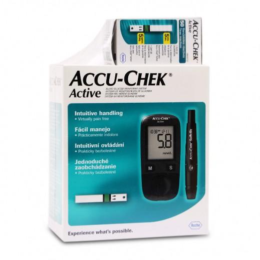 أكيوتشيك أكتيف – جهاز قياس نسبة السكر في الدم + 50 شريط اختبار