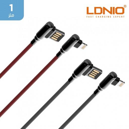 لدنيو - كيبل شحن و مزامنة USB الى Lightning بطول 1 متر مع موصل بزاوية 90 درجة للألعاب