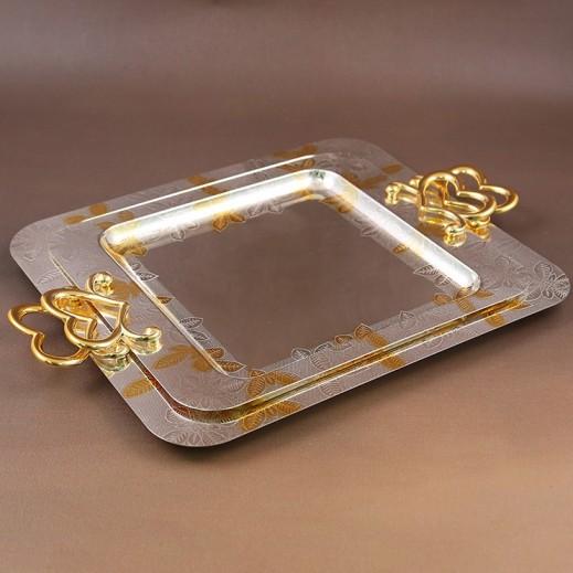 إي إس سي - طقم صواني ستانليس ستيل 2 حبة - ذهبي وفضي