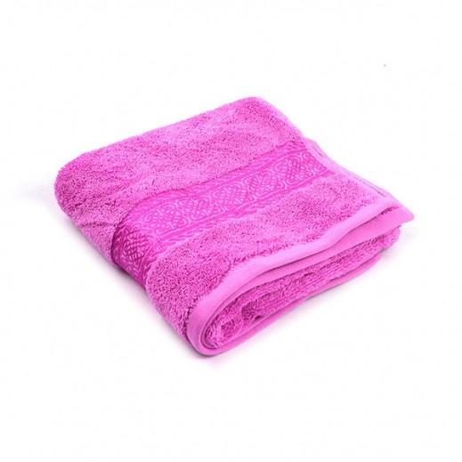 فيلدكرست - منشفة مطرزة للحمام - لون وردي 70×140 سم