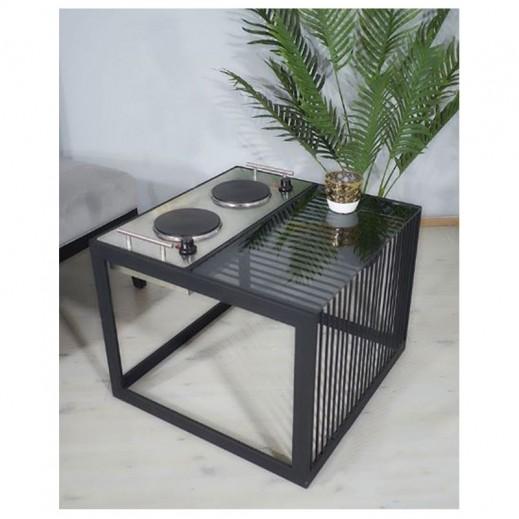 طاولة مع دوة كهرباء - لون أسود - يتم التوصيل بواسطة Siwaj
