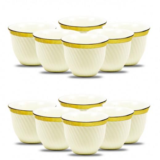 طقم فناجين قهوة من البورسلان 12 قطعة - أبيض